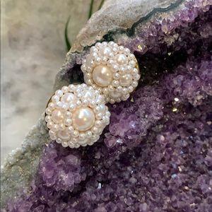 Faux Pearl Cluster Clip-On Earrings